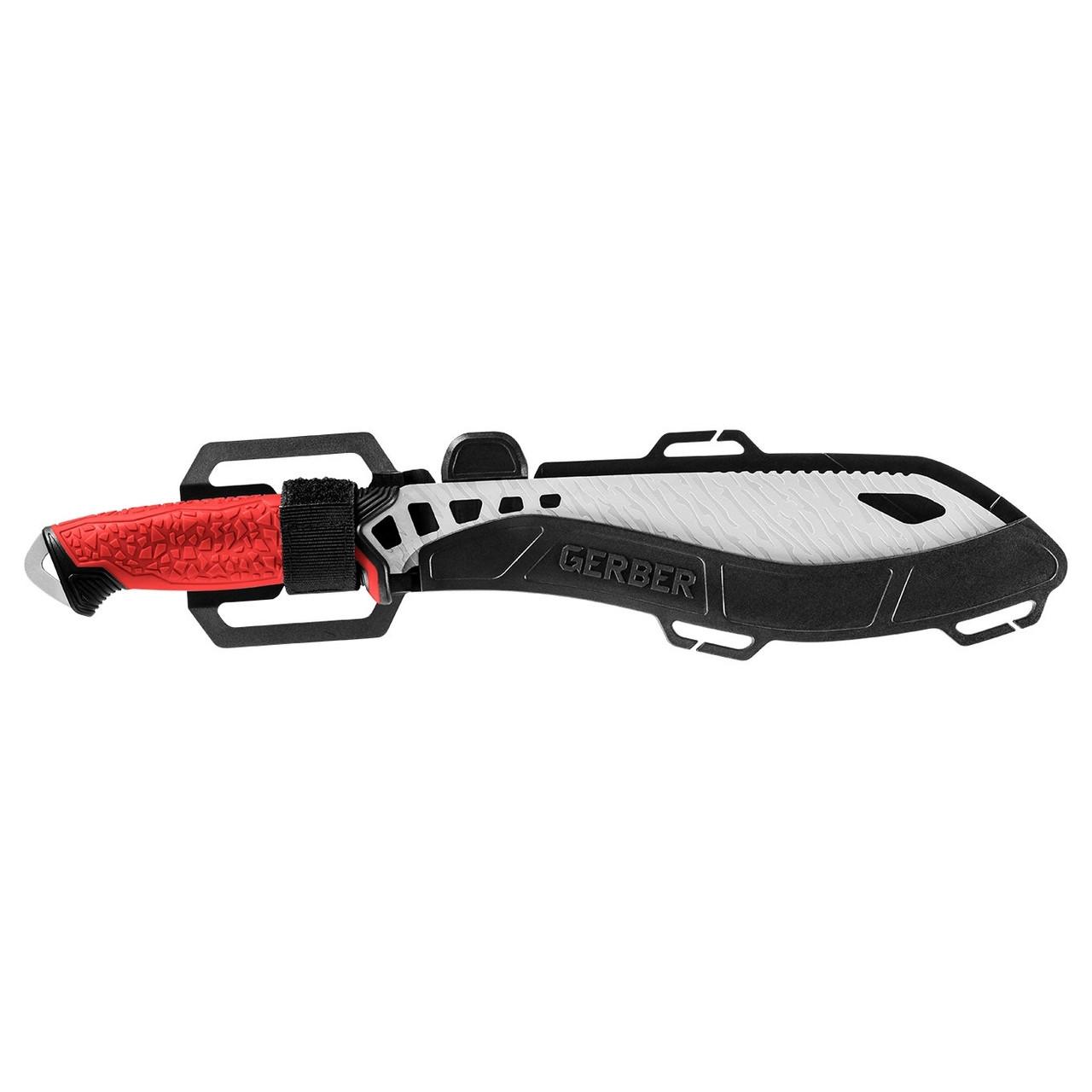 Gerber Red Versafix Pro Fixed Blade Knife, Bead Blast Blade SHEATH VIEW