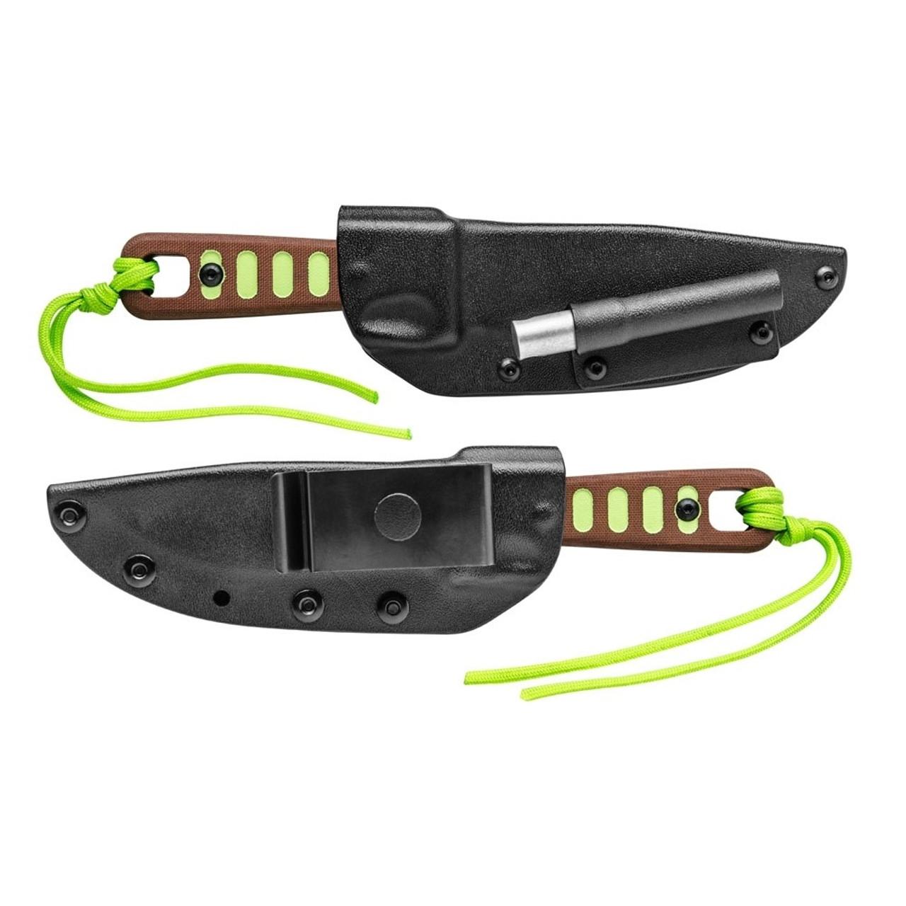 TOPS Survival Green Lite Trekker Fixed Blade Knife, Black Blade SHEATH VIEW