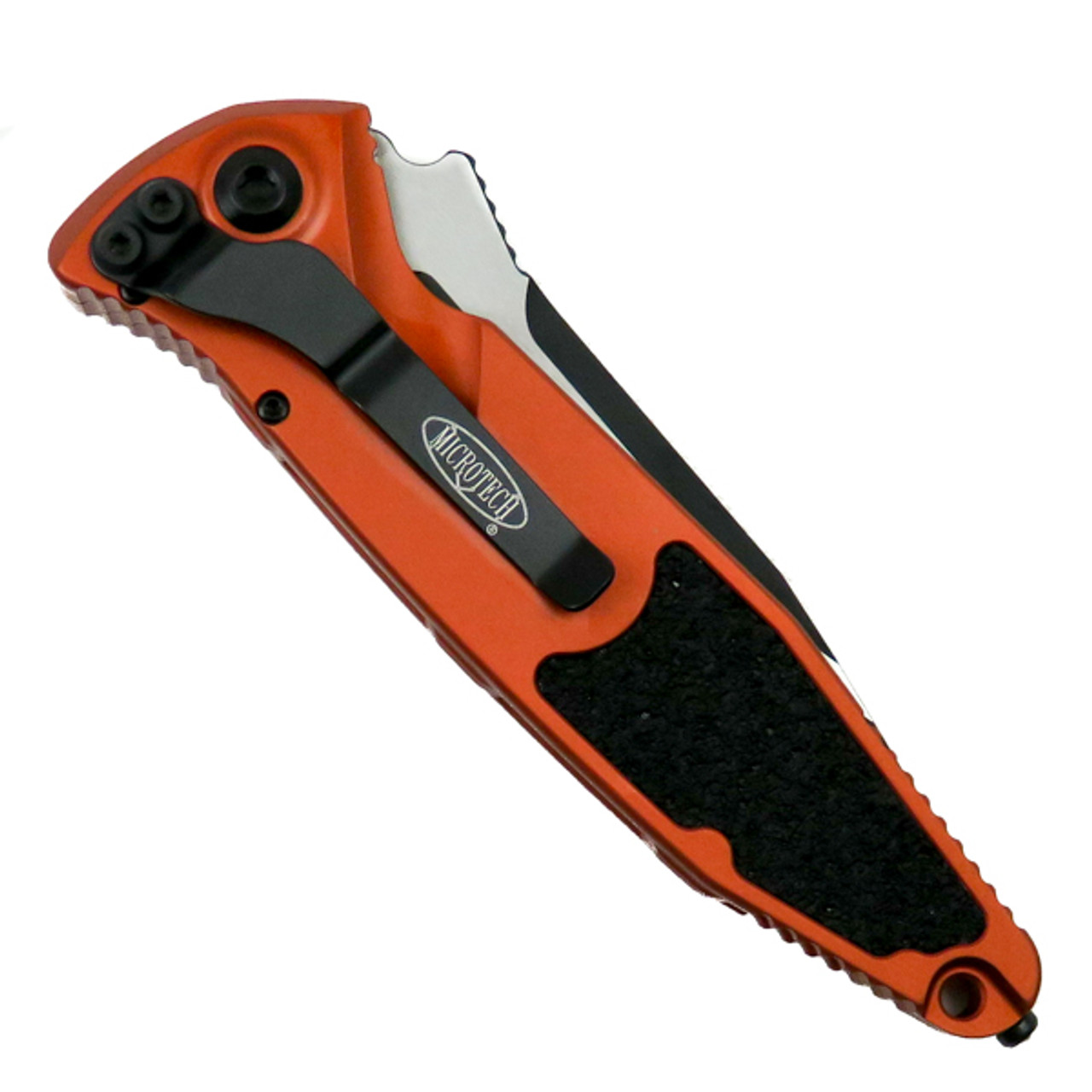 Microtech Orange Socom Elite Auto Knife, Black Blade Back