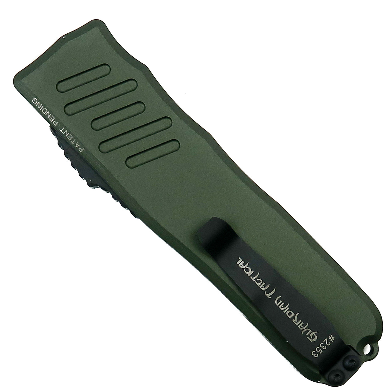 Guardian Tactical OD Green RECON-035 Dagger OTF Auto Knife, Two Tone Combo Blade Back