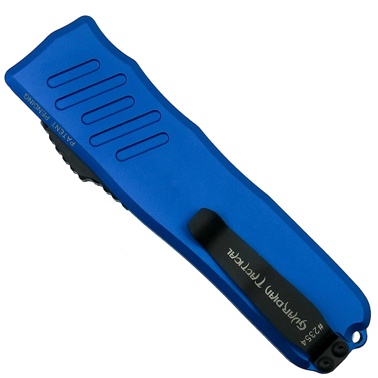 Guardian Tactical Blue RECON-035 Dagger OTF Auto Knife, Black Combo Blade Back