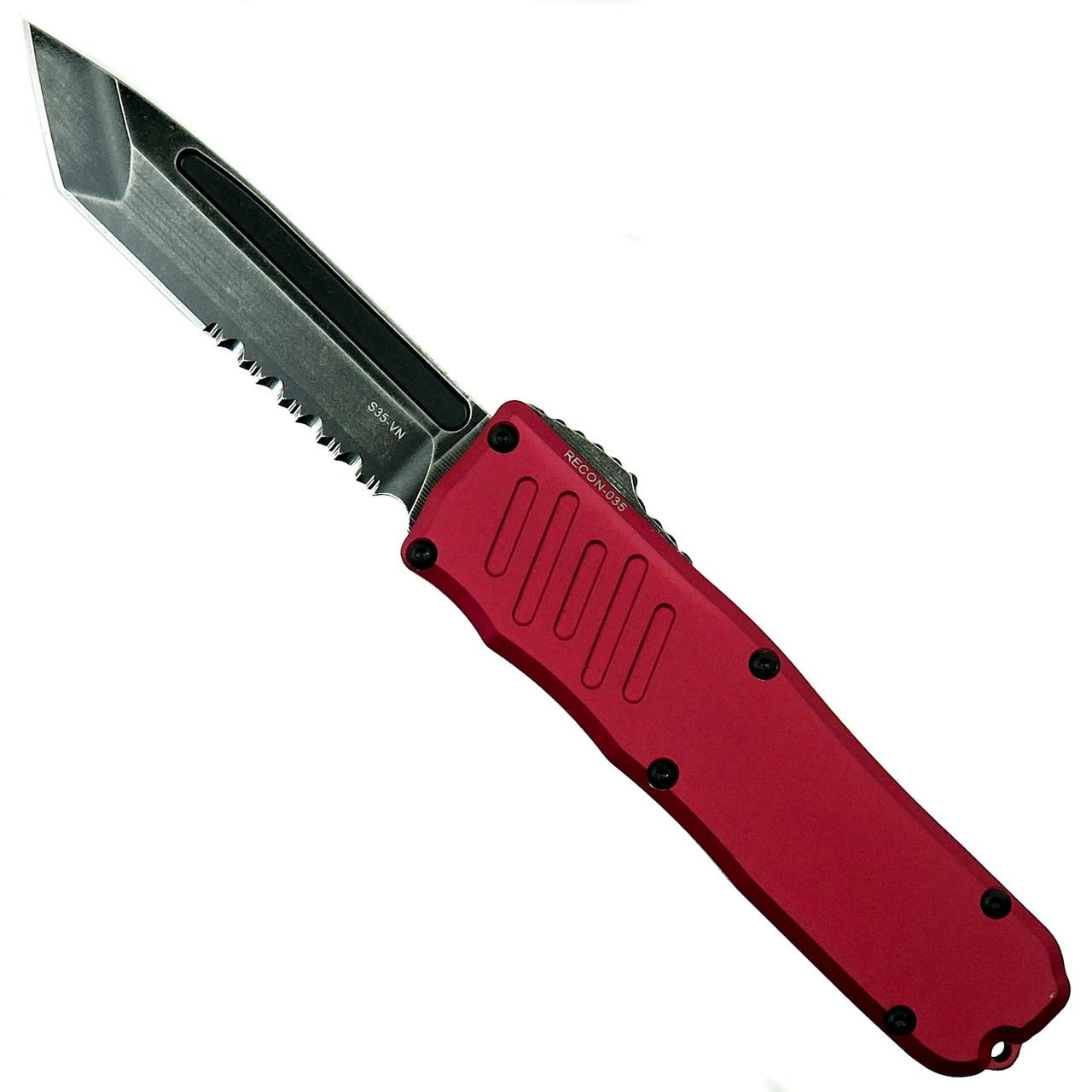 Guardian Tactical Red RECON-035 Tanto OTF Auto Knife, Dark Stonewash Combo Blade
