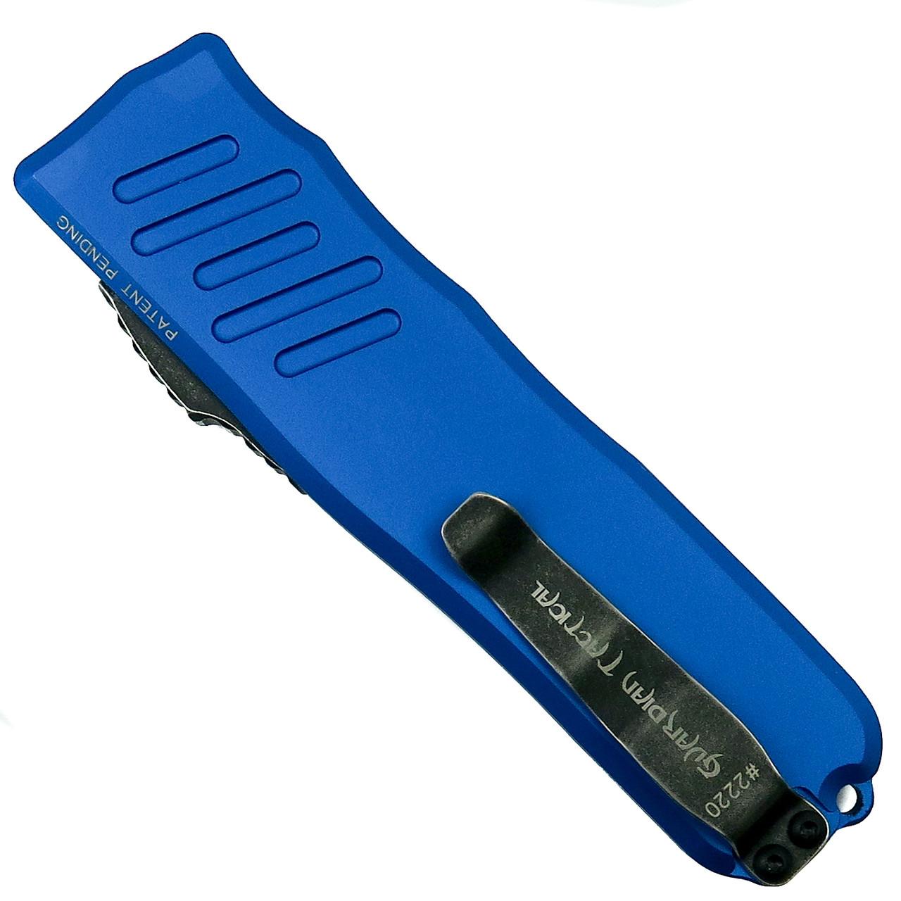 Guardian Tactical Blue RECON-035 Tanto OTF Auto Knife, Dark Stonewash Combo Blade Back