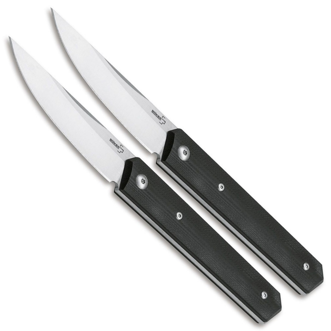 Boker Plus Kwaiken Steak Knife Set, Satin Blades FRONT VIEW