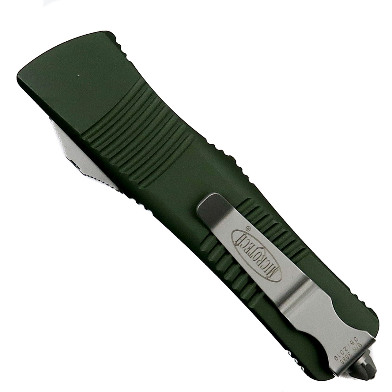 Microtech OD Green Troodon OTF Auto Knife, Satin Combo Blade Back View