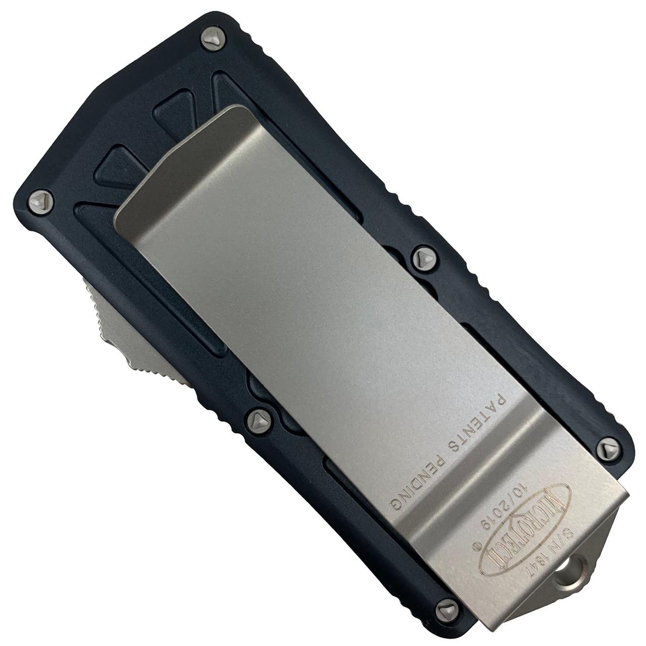 Microtech Exocet OTF Auto Knife, Stonewash Blade REAR VIEW