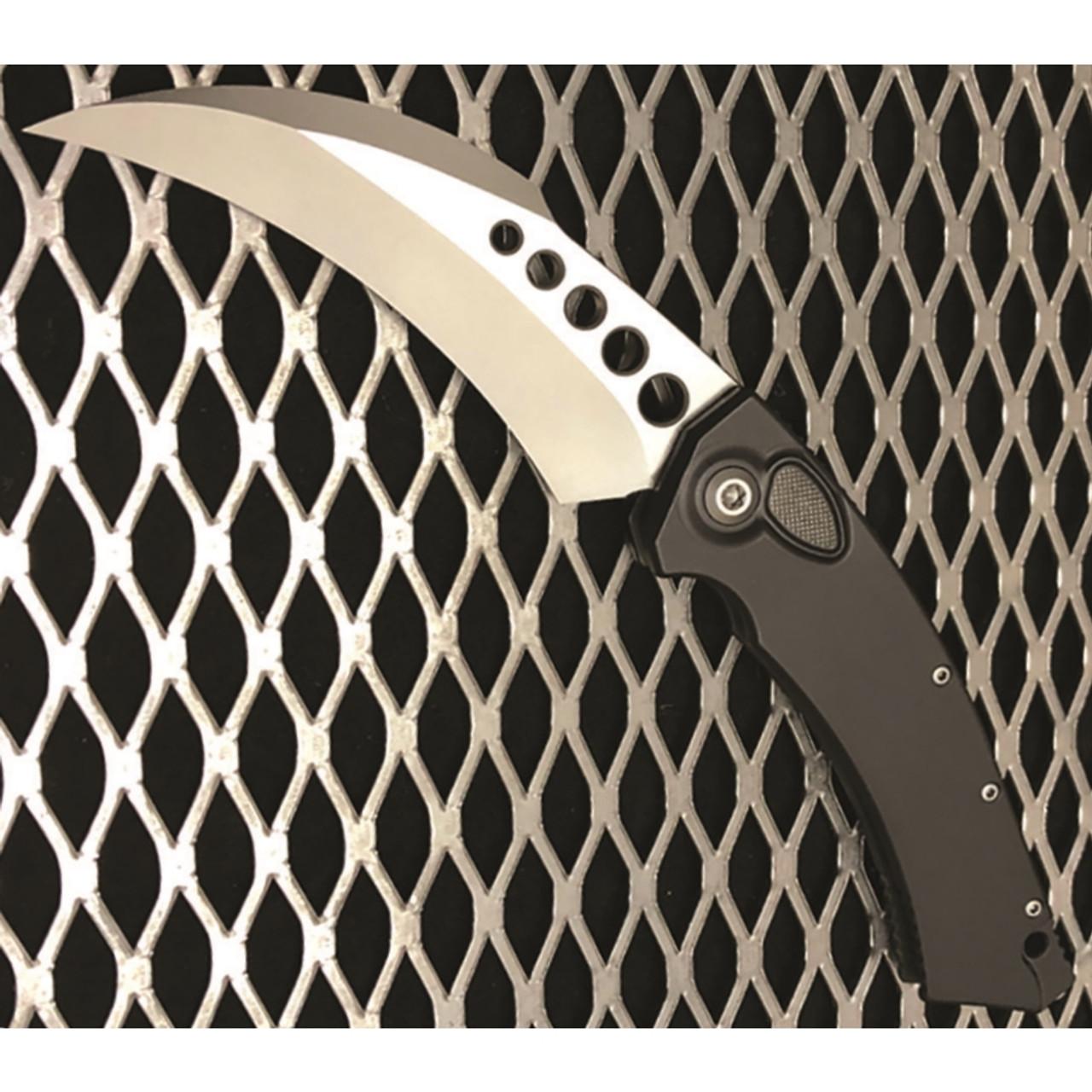 Microtech Hawk Auto Knife, Stonewash Blade, On Grid