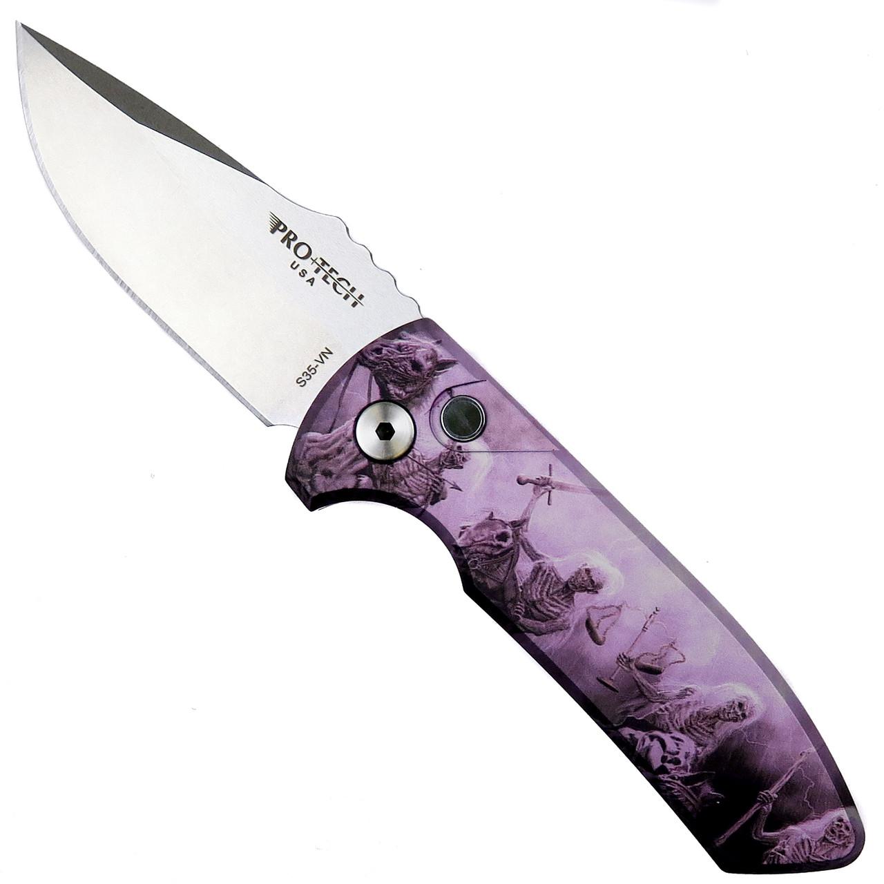 Pro-Tech Skulls #1 SBR Auto Knife, Stonewash Blade