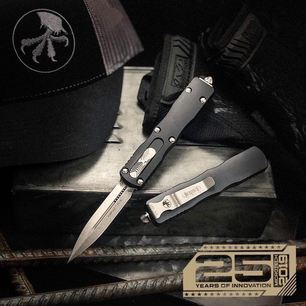 Microtech Dirac Dagger OTF Auto Knife, Stonewash Blade IG VIEW