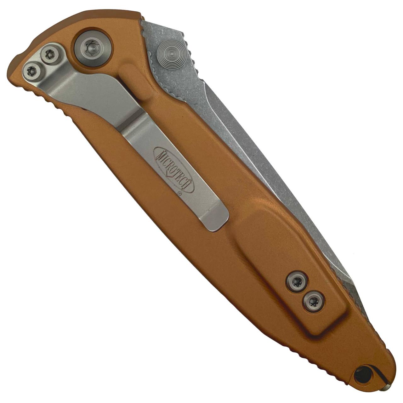 Microtech Tan Socom Elite Tanto Folder Knife, Stonewash Blade REAR VIEW