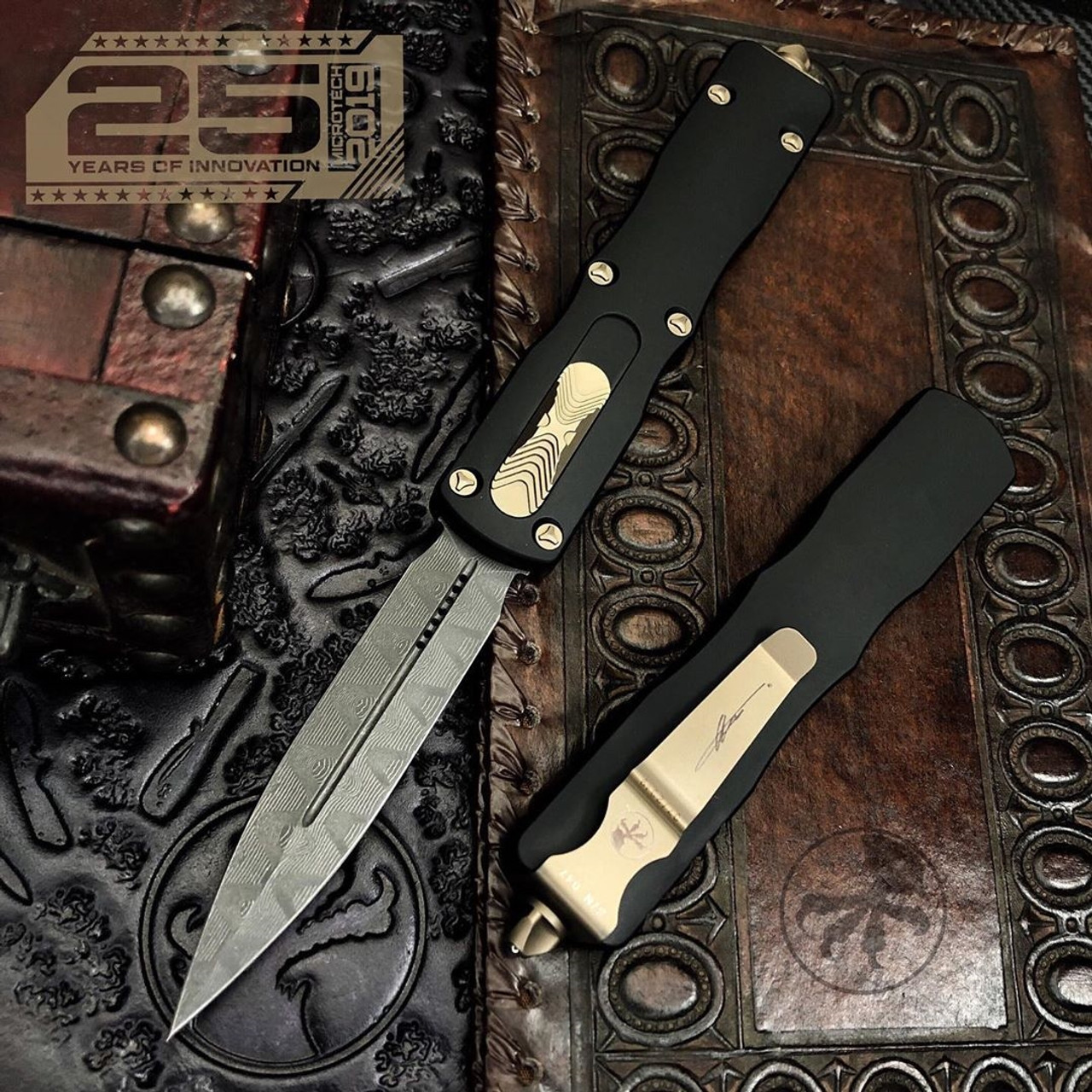 Microtech Dirac Delta Dagger OTF Auto Knife, Damascus Blade IG VIEW