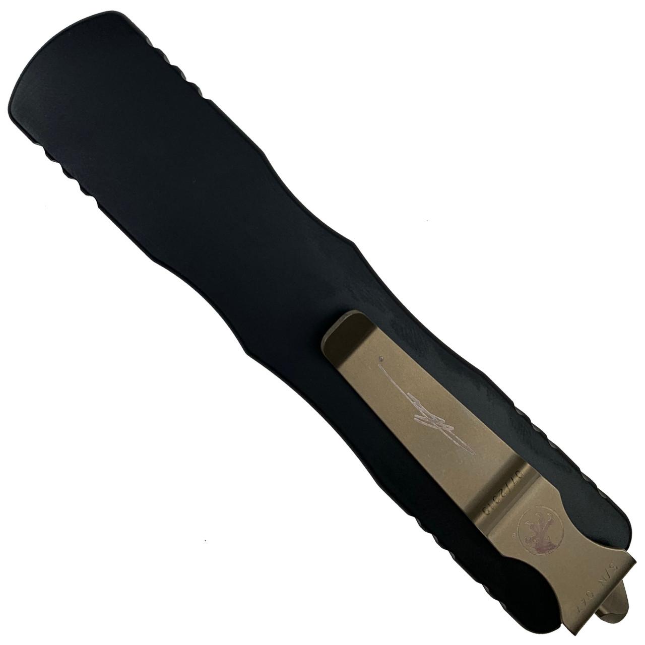 Microtech Dirac Delta Dagger OTF Auto Knife, Damascus Blade REAR VIEW