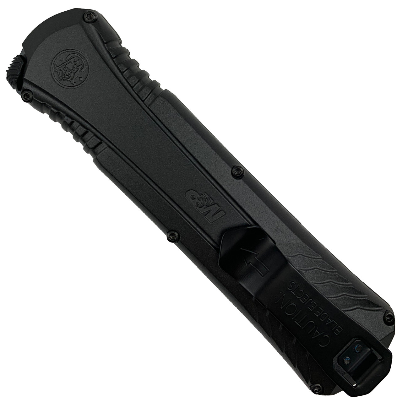 Smith & Wesson BlackOut OTF Spring Assist Knife, Black Blade REAR VIEW