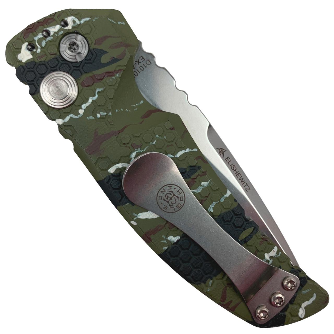 "Hogue Knives Vietnam Tiger Stripe EX-A01 3.5"" Auto Knife, Tumbled Blade REAR VIEW"