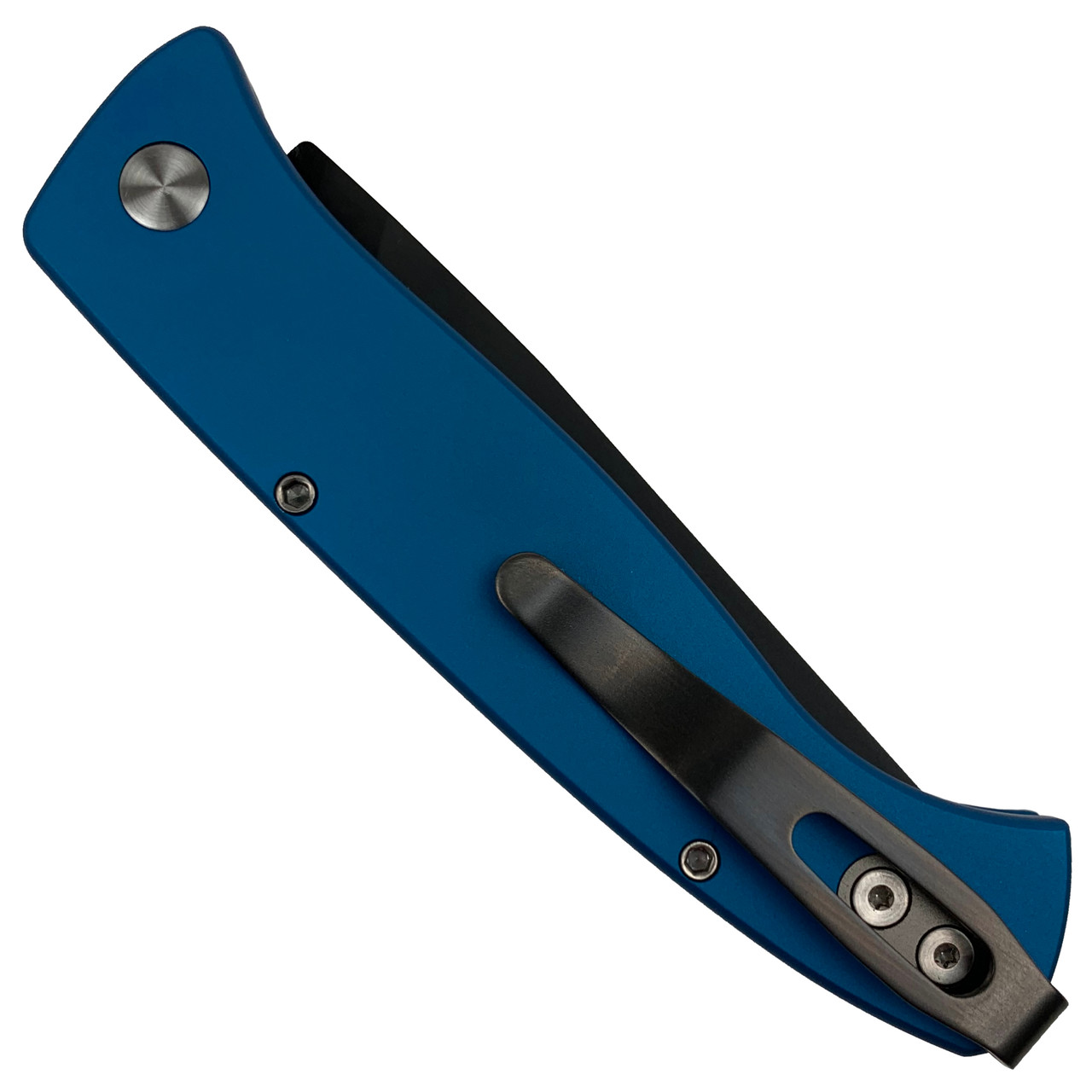 Pro-Tech Blue Small Brend #2 Auto Knife, Black Blade REAR VIEW