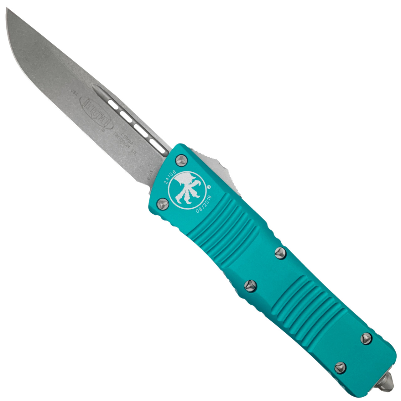 Microtech Turquoise Combat Troodon OTF Auto Knife, Stonewash Blade