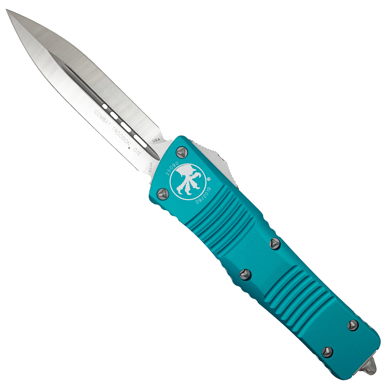 Microtech Turquoise Combat Troodon Dagger OTF Auto Knife, Satin Blade