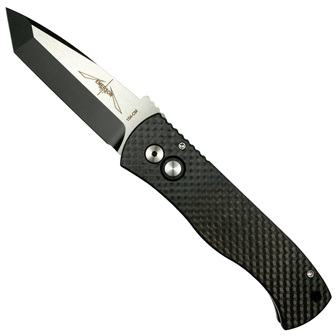 Pro-Tech Emerson CQC-7 Tanto Carbon Fiber Auto Knife, Black/Satin Blade
