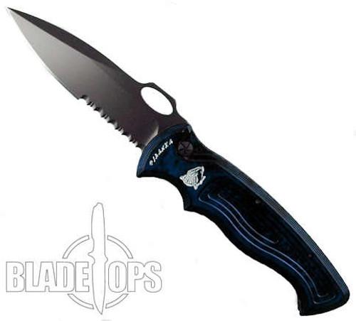 Piranha Blue Hybrid Auto Knife, 154CM Black Combo Blade