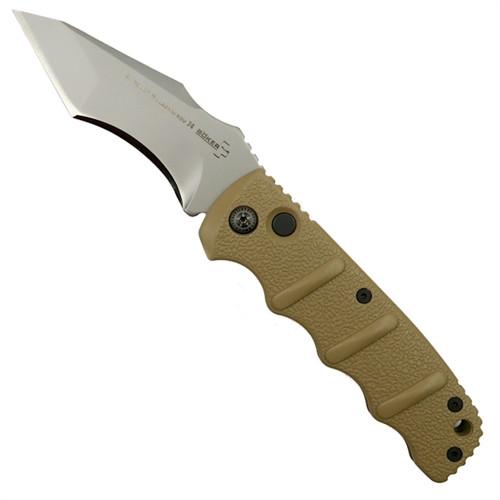 Boker Tan Kalashnikov Recurve Tanto Auto Knife, AUS-8 Bead Blast Blade