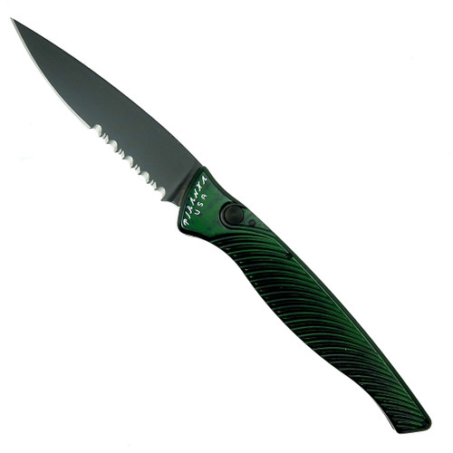 Piranha Green DNA Auto Knife, CPM-S30V Black Combo Blade