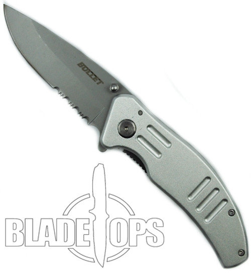 Silver Bullet Spring Assisted Knife, Bead Blast Part Serrated Blade