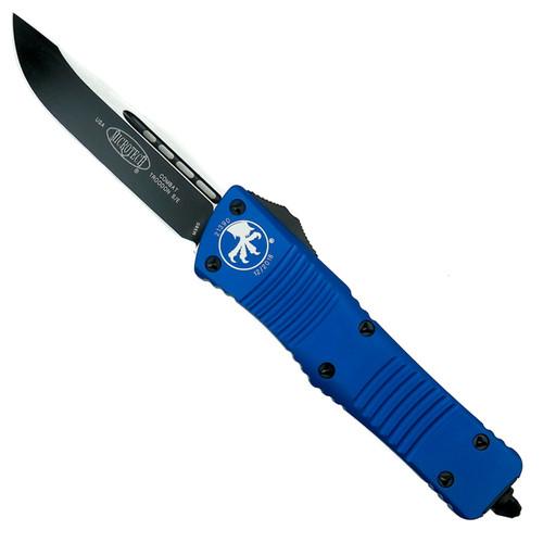 Microtech Blue Combat Troodon OTF Auto Knife, Black Blade