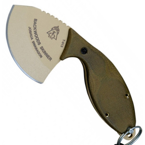 TOPS Backwoods Skinner Fixed Blade Knife, Coyote Tan Blade FRONT VIEW