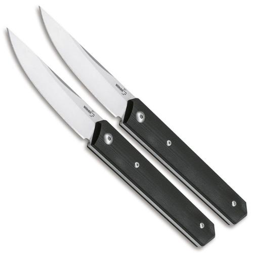 Boker Plus Kwaiken Steak Knife Set, Satin Blades FRONT VIEW