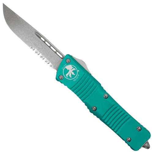 Microtech Turquoise Combat Troodon OTF Auto Knife, Stonewash Combo Blade