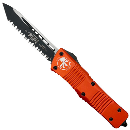 Microtech Orange Combat Troodon Tanto OTF Auto Knife, Black Serrated Blade