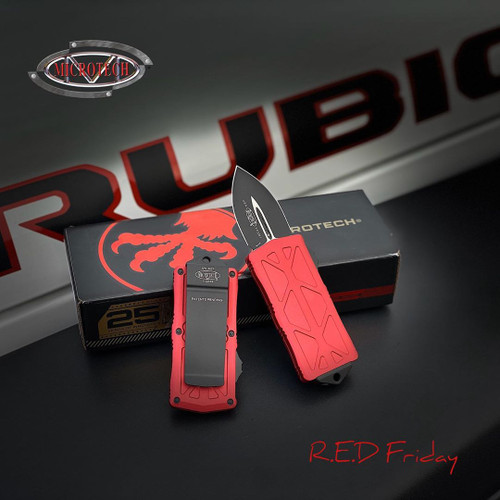 Microtech Red Exocet OTF Auto Knife, Black Blade IG VIEW
