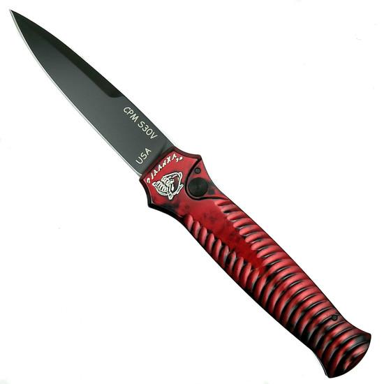 Piranha Red Mini-Guard Auto Knife, CPM-S30V Black Blade