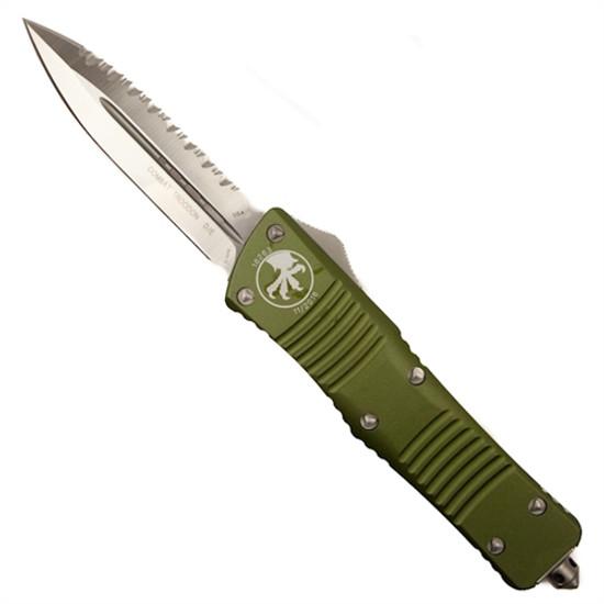Microtech 142-6OD OD Green Combat Troodon D/E OTF Auto Knife, Full Serrated Satin Blade