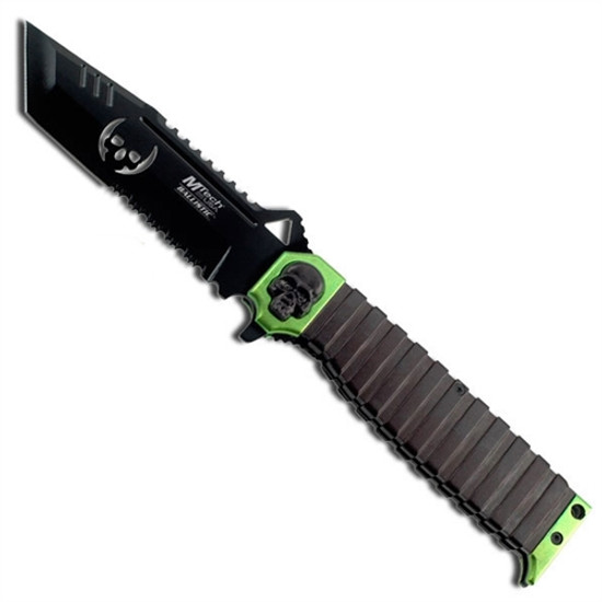 MTech USA MT-A820GN Black/Lime Green Tanto Spring Assist Knife, Black Combo Blade