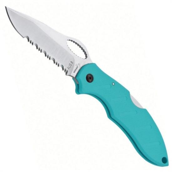 Boker Plus 01BO095 Turquoise Action R Folder Knife, AUS-8 Satin Combo Blade