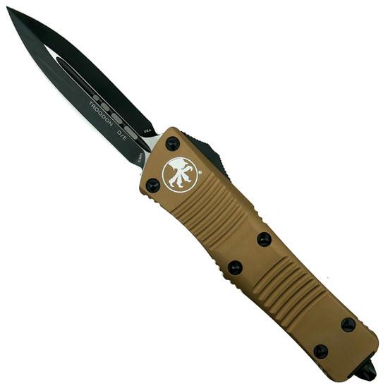 Microtech 138-1TA Tan Troodon D/E OTF Auto Knife, Black Blade