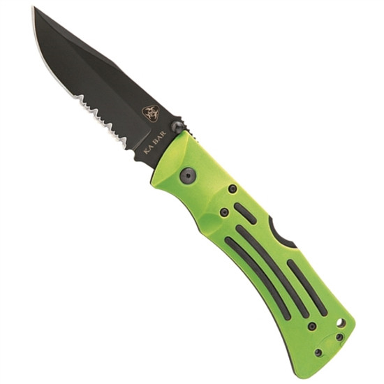 KA-BAR Zombie MULE LockBack Knife, Black Clip Point Combo Blade