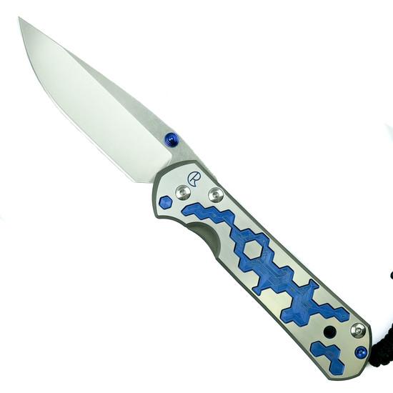 "Chris Reeve L21-1244 CGG ""Circuits"" Large Sebenza 21 Titanium Folder Knife, CPM-S35VN Stonewash Blade"