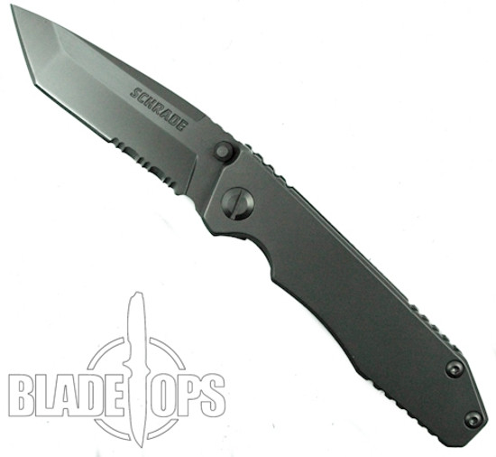 Schrade SCH307S FrameLock Folding Knife, Combo Tanto Blade
