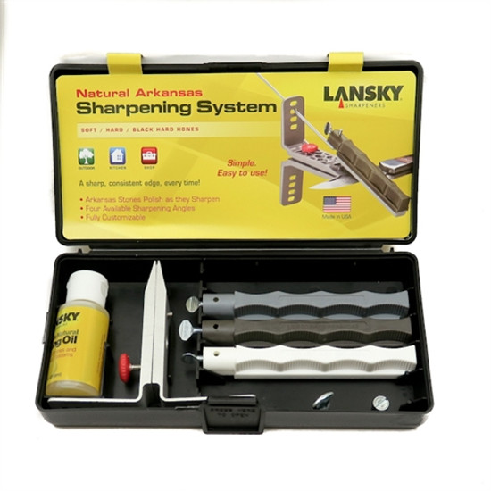 Lansky LKNAT Natural Arkansas Knife Sharpening System, 3 Hones