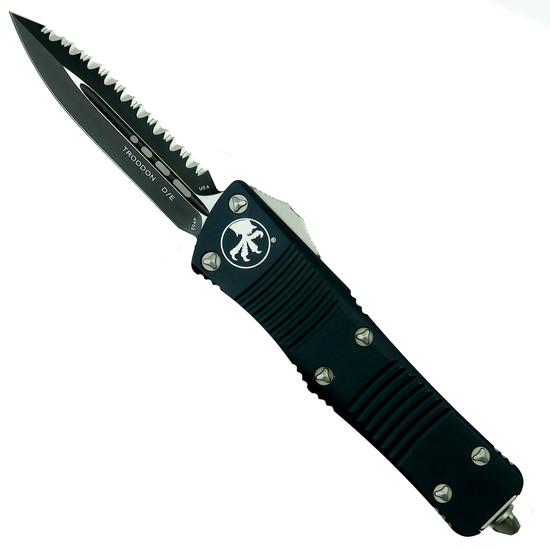 Microtech 138-3 Troodon D/E OTF Auto Knife, Full Serrated Black Blade