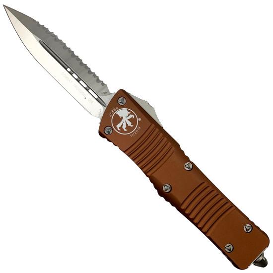 Microtech 142-6TA Tan Combat Troodon D/E OTF Auto Knife, Full Serrated Satin Blade