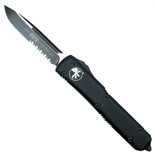Microtech 121-2T Tactical Contoured Ultratech S/E OTF Auto Knife, Black Combo Blade