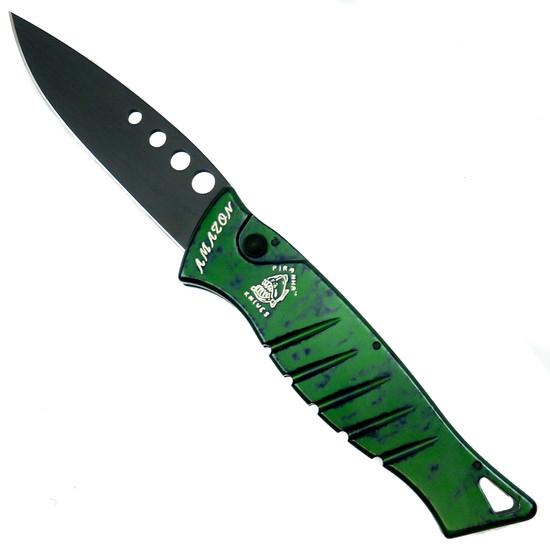 Piranha Green Amazon Auto Knife, 154CM Black Blade