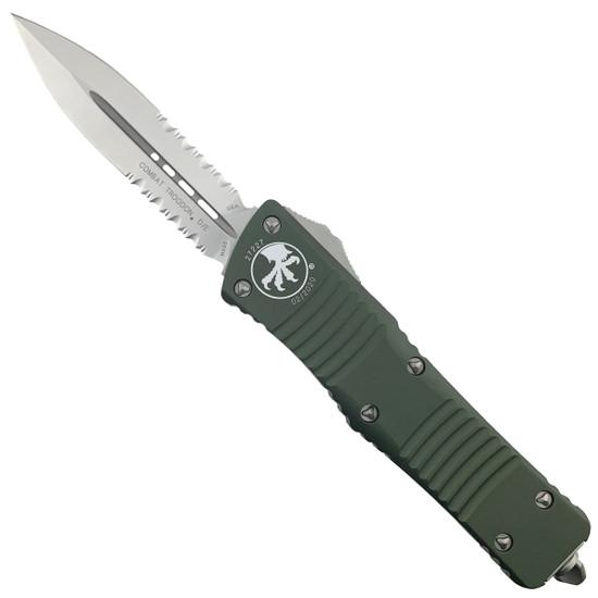 Microtech 142-5OD OD Green Combat Troodon D/E OTF Auto Knife, Satin Combo Blade