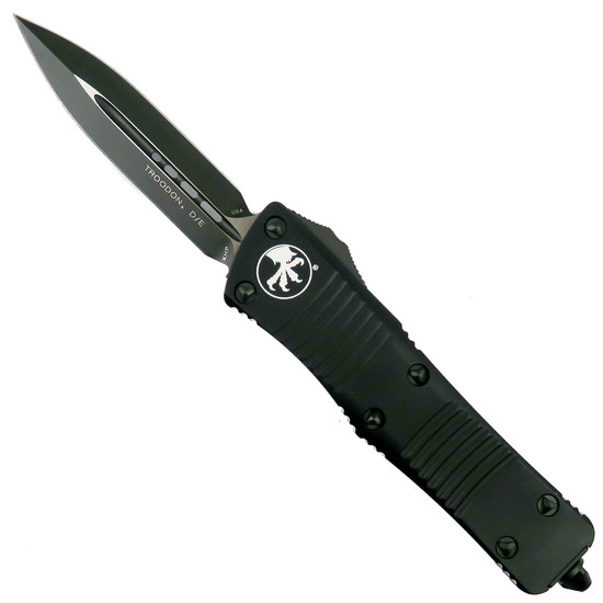 Microtech Tactical Troodon Double Edge OTF Knife , Black Dual Standard Blade, MT138-1T