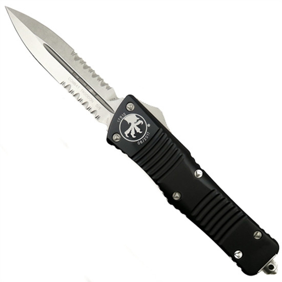 Microtech 142-11 Combat Troodon D/E OTF Auto Knife, Stonewash Combo Blade