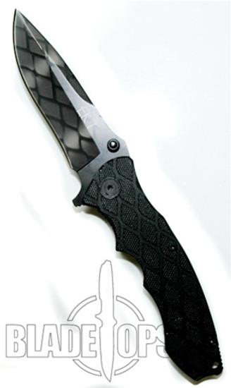 Snake Assisted Opener Knife, Grey Camo Pattern, G10