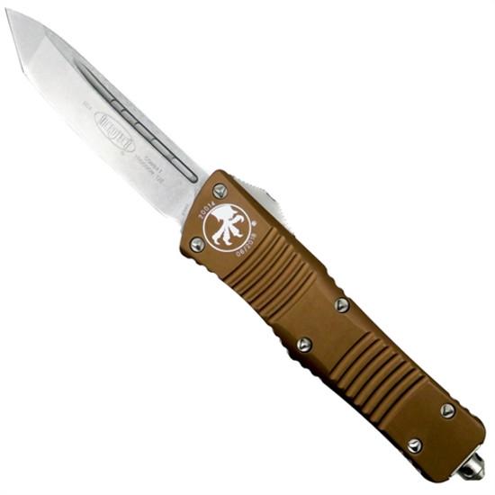 Microtech 144-10TA Tan Combat Troodon T/E OTF Auto Knife, Stonewash Blade